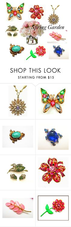 """""""Spring Garden"""" by cindydcooley ❤ liked on Polyvore featuring moda, Diane James ve vintage"""