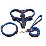 Dog Leash Harness, 3pcs Rescue No-Pull Harness Leash Collar, Adjustable and Heavy Duty Denim for Large/Medium/Small Dog (M)