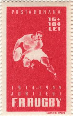Postage stamp - Romania, 1944 (issued to celebrate the 30th anniversary of the Romanian Rugby Union)