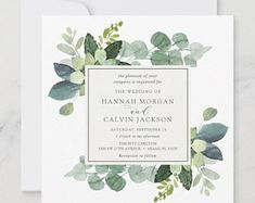 Stationery Designs by AdorePaperCo on Etsy Square Wedding Invitations, Botanical Wedding Invitations, Bridal Shower Invitations, Party Invitations, Invitation Ideas, Invites, Eucalyptus Wedding, Eucalyptus Leaves, Zazzle Invitations
