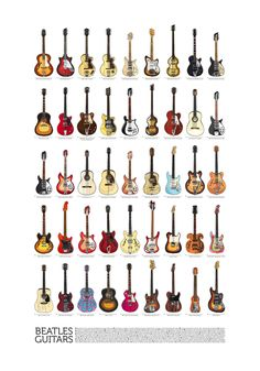 Beatles Guitars - all of them! - by danilo agutoli, via Behance