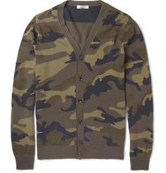 Valentino Camouflage Intarsia Cashmere Cardigan. You can check our more camo at http://www.wantering.com/trends/camo/