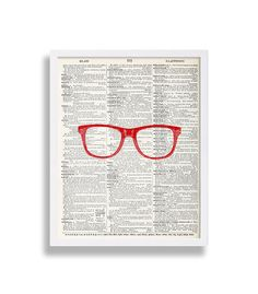 Red Glasses on relevant Glasses Dictionary Page (Can change color of glasses if desired) *Note: unlike other shops, this listing comes exactly as shown because it is a print on high quality paper and is not done on a random book page, hence Im also able to blow it up to as big as