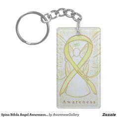 Spina Bifida Angel Yellow Awareness Ribbon Art Keychain