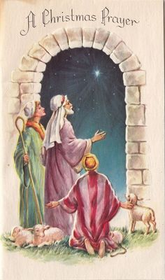 Vintage Greeting Card Christmas Religious Shepherds Sheep Nativity A-30 .................................lb xxxX