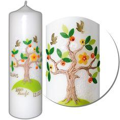 Taufkerze-Lebensbaum für Mädchen und Jungen   Mit kostenloser Kerzenbeschriftung Mit dieser Taufkerze wird die Taufe auch optisch ein voller Erfolg. In unschuldigem Weiß, wie es für Mädchen und Jungen passender nicht sein kann,...