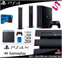VIDEOCONSOLA SONY PS4 PLAYSTATION 4 1TB PRO CONSOLA CHASIS D CON HDR 4K GAMING