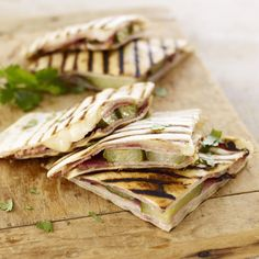 These grilled Cuban sandwich-style quesadillas are easy to eat out of hand, making them a great dish for backyard drinks and appetizers. #myplate #protein #dairy