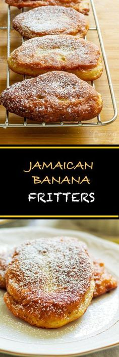 Fritters Super easy Jamaican banana fritters are light, fluffy and soooooo tasty. It is a cross between a donut and mini pancakes.Super easy Jamaican banana fritters are light, fluffy and soooooo tasty. It is a cross between a donut and mini pancakes. Jamaican Dishes, Jamaican Recipes, Jamaican Desserts, Jamaican Rum Cake, Just Desserts, Delicious Desserts, Yummy Food, Deep Fried Desserts, Jamaican Banana Fritters