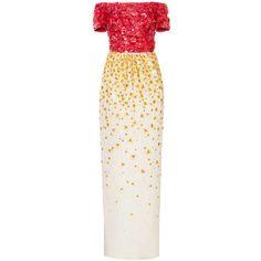 Oscar de la Renta Off Shoulder Degrade Organza and Sequin Embroidered... (€11.550) ❤ liked on Polyvore featuring dresses, gowns, oscar de la renta, long dresses, white dress, white off shoulder dress, off the shoulder gown and long white evening dress