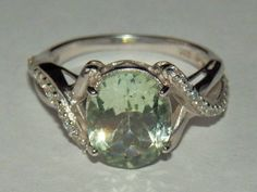 RARE! 3.45 ct. NATURAL Mint Green Amethyst on solid 925 Sterling Silver Cocktail Ring, size 8.5