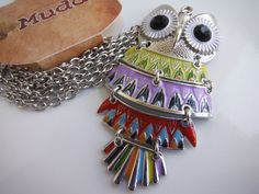 MUDD Owl Necklace Disjointed Pendant Silver-Toned Enamel Multi-Color