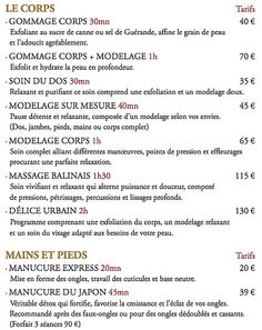 Tarifs institut ESPACE URBAIN rouen 48 rue aux ours, Rouen 02.35.70.65.87  Ouvert du Mardi au Samedi : 10h00 - 19h00
