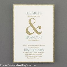 Shine Through Invitation - Gold glitter shows around the edges and through the ampersand symbol to add glitzy style to this design.  See this and many more glitz and glam wedding invitations at   www.PrintedCreationsWeddingStore.com.