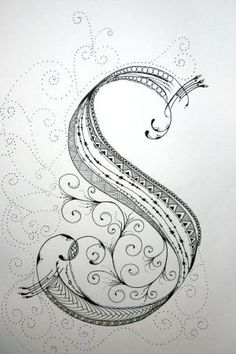 """ZenTangle Alphabet Drawing on Bright White Drawing Paper with """"Micron"""" Ink and """"Gelly Roll"""" Gel Pens.. $19.99, via Etsy. by marcia"""