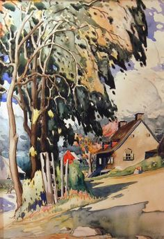 Maison sous les arbres (c. - Marc- Aurele Fortin is known and admired as the great champion of the Quebec landscape painters. Watercolor Landscape, Watercolor Paintings, Watercolors, Canadian Artists, Canadian Painters, Quebec, T Art, Art Graphique, Fine Art