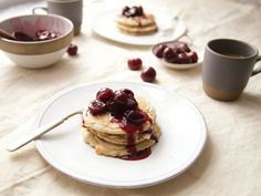 Coconut Pancakes with Cherry Compote (Gluten-Free) | Food Network