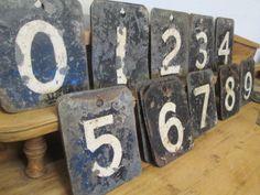 Set of toleware cricket scoreboard numbers.