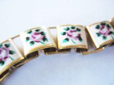 Vintage Victorian Revival Enamel Bracelet Pink Roses by tubbytabby, $49.00