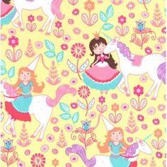 Tissu Unicorn Princess fond jaune x 30cm