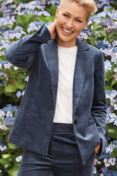 Womens Next Blue Emma Willis Cord Single Breasted Jacket - Blue Emma Willis, It's Finished, Outfit Goals, Everyday Outfits, Single Breasted, Silhouettes, Cord, Trousers, Inverted Triangle