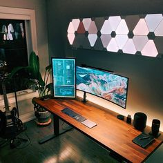 A desk I dream about every night. 😂 Link in bio if you want to support my dream. 😘💯🙏⚡ What's your favourite thing about this setup? Computer Gaming Room, Computer Desk Setup, Gaming Room Setup, Pc Setup, Computer Technology, Home Office Setup, Office Workspace, Home Office Design, Home Design