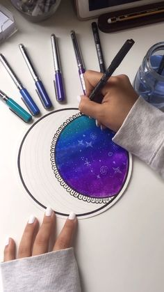 Zentangle moon with galaxy sky Doodle Art doodle art for beginners galaxy Moon Sky Zentangle Doodle Art For Beginners, Easy Doodle Art, Doodle Art Drawing, Easy Sketches For Beginners, Zentangle For Beginners, Art Drawings Sketches Simple, Pencil Art Drawings, Mandala Art Lesson, Easy Mandala Drawing