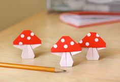 Origami Mushrooms at How About Orange