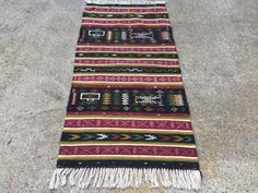 Old Indian Kilim wool hand woven country home Tribal Boho vintage Peru