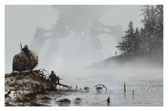 "1920 - Lost in the Fog • Illustrated by Jakub ""Mr. Werewolf"" Rozalski • Archival pigment print • Printed on Hahnemühle Fine Art Baryta 325 GSM fiber paper or Hahnemühle Fine Art 410 GSM Monet Canvas •"