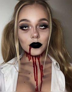 20 Cute Halloween Makeup Ideas Maquillage Halloween Zombie, Halloween Zombie Makeup, Zombie Make Up, Halloween Eyes, Halloween Looks, Halloween Outfits, Zombie Girl Makeup, Girl Zombie Costumes, Zombie Schoolgirl Costume
