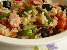 Le    ricette    di    Claudia  &   Andre : Insalata di riso integrale con fagiolini, wurstel,...