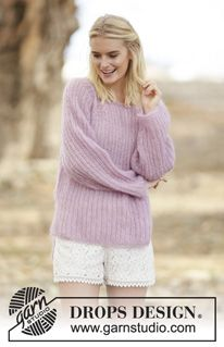 "Knitted DROPS jumper with English rib, vent and raglan in 2 strands ""Kid-Silk"". Size S-XXXL. ~ DROPS Design"
