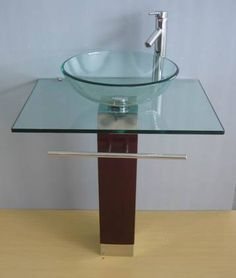 glass bowl sink with vanity