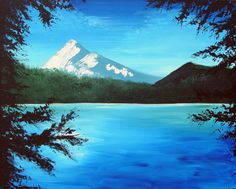 Mt Hood original acrylic landscape painting on by MikeSmithArt, $80.00