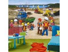 """""""Construction Site"""". A wallpaper mural from Muralunique.com. This is an original painting from Tony Floreani. https://www.muralunique.com/construction-site-105-x-8-320m-x-244m.html"""