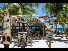 Chill Beach Bar, located in Curacao at Lions Dive and Beach Resort, hasn't been open for long but whoever designed it should get a round of drinks for free every day for the rest of their lif… Willemstad, Southern Caribbean, Beach Shack, Beach Bars, Beach Signs, Beach House Decor, Surf Shop, Tahiti, Beach Resorts