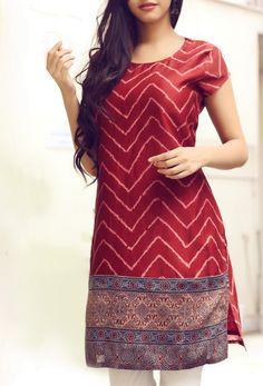 #red #kurta with #geometric_prints #Fabindia