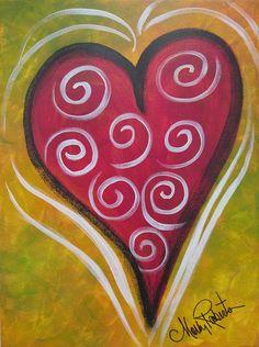 My Happy Heart Painting - My Happy Heart Fine Art Print Canvas Crafts, Diy Canvas, Canvas Art, Canvas Ideas, Painting Canvas, Acrylic Paintings, Heart Painting, Love Painting, Valentines Art