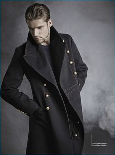 Mikus Lasmanis Models Classic Fall Fashion Looks for GQ Mexico Fall Fashion Outfits, Autumn Fashion, Mens Fashion, Mafia, Military Style Coats, Steampunk, Male Models Poses, Smart Casual Men, Men Photoshoot
