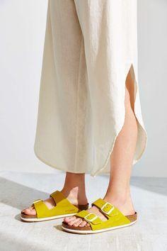 uo birkenstock arizona sandal in yellow.