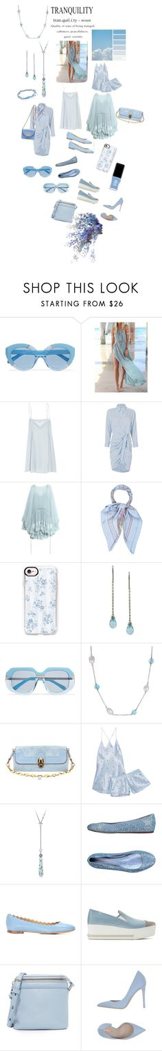 """""""Sky Blue No. 1...The Many Shades of Sky Blue"""" by onesweetthing ❤ liked on Polyvore featuring Karen Walker, WithChic, Elizabeth and James, Veronica Beard, Chloé, Hermès, Casetify, Honora, Olivia von Halle and David Yurman"""