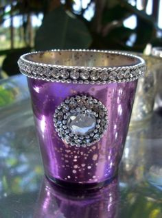 Diamond Rhinestone Purple Mercury Glass Votive Holder Purple Mercury Glass Candle Holder Wholesale Mercury Glass Sangeet Decor Mehndi Decor Many Available | Recycled Bride