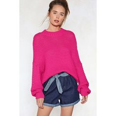 Nasty Gal Knit Wasn't My Fault Oversized Sweater ($36) ❤ liked on Polyvore featuring tops, sweaters, fuchsia, pink sweater, crewneck sweaters, pink knit sweater, oversized tops and knit top