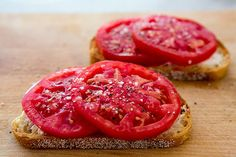 Tomatoes on Toast ~ Freshly toasted slices of rustic bread, topped with Boursin herbed cheese and slices of fresh, ripe garden tomatoes. ~ SimplyRecipes.com