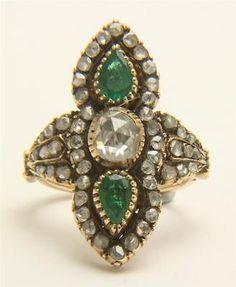 A Magnificent Georgian 3ct Rose Cut Diamond & Emerald Ring Circa 1800's