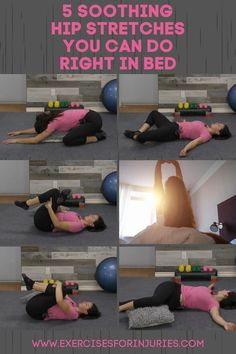 Best soothing stretches you can do in bed. Easy At Home Workouts, Best At Home Workout, Daily Workouts, Gym Workouts, Bed Workout, Workout Routines, Workout Videos, Yoga Fitness, Fitness Hacks