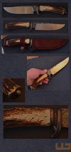 Gerdil Лоран - Скульптура - Человек Стэнли нож. 100Cr6 стальное лезвие. Длина: 16 см .Épaisseur рикассо: 4мм. деревянной ручкой резные олень. Охрана и навершие бронза. Общая длина: 29 см. Дело дубления кожи завод ручной сшиты.