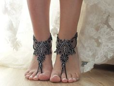 Beach wedding barefoot sandals black lace bridal anklet... beach wedding barefoot sandals ,Black lace sandals In them you need to pay attention and you'll feel the queen of the beach...Beach weddi