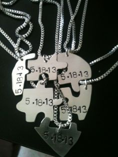 sterling Silver Jigsaw Puzzle Piece Necklace pendant best friend necklaces BFF Puzzle Necklace – Set of 2 keepsake | Best Bitches